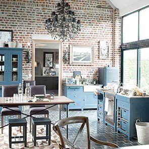 Meuble bas de cuisine 4 bacs en pin bleu grisé - Brocante - Visuel n°3