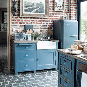 Meuble bas de cuisine 4 bacs en pin bleu grisé - Brocante - Visuel n°4