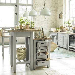 Meuble bas de cuisine 4 bacs en pin gris perle - Brocante - Visuel n°3