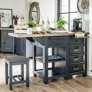 Ilot central de cuisine en pin massif noir graphite - Brocante - Visuel n°2