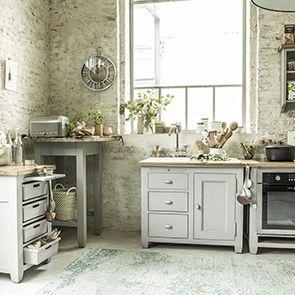 Meuble bas de cuisine pour évier en pin gris perle - Brocante - Visuel n°3