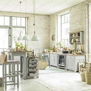 Meuble bas de cuisine pour évier en pin gris perle - Brocante - Visuel n°4
