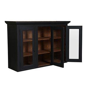Haut de buffet vaisselier 3 portes vitrées en pin noir graphite - Brocante - Visuel n°3