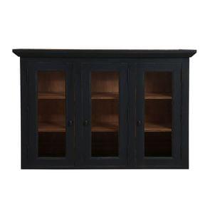 Haut de buffet vaisselier 3 portes vitrées en pin noir graphite - Brocante