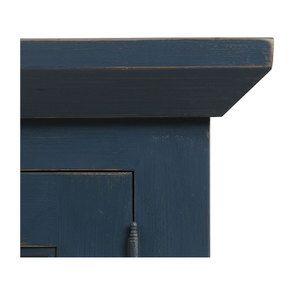 Haut de buffet vaisselier 3 portes vitrées en pin bleu grisé vieilli - Brocante - Visuel n°8