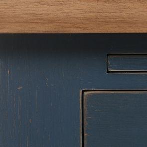 Haut de buffet vaisselier 3 portes vitrées en pin bleu grisé vieilli - Brocante - Visuel n°9