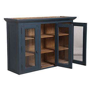 Haut de buffet vaisselier 3 portes vitrées en pin bleu grisé vieilli - Brocante - Visuel n°2