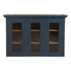 Haut de buffet vaisselier 3 portes vitrées en pin bleu grisé vieilli - Brocante - Visuel n°1