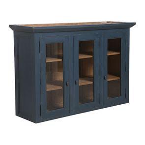 Haut de buffet vaisselier 3 portes vitrées en pin bleu grisé vieilli - Brocante - Visuel n°3