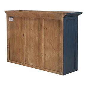 Haut de buffet vaisselier 3 portes vitrées en pin bleu grisé vieilli - Brocante - Visuel n°4