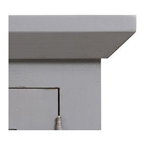 Haut de buffet vaisselier 3 portes vitrées en pin gris perle vieilli - Brocante - Visuel n°2