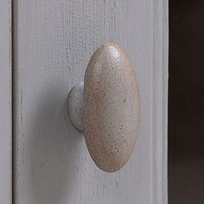 Haut de buffet vaisselier 3 portes vitrées en pin gris perle vieilli - Brocante - Visuel n°3