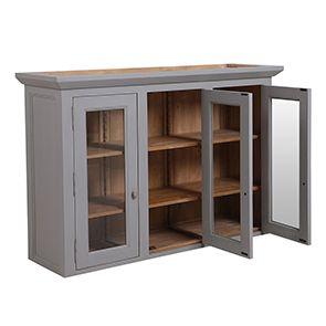 Haut de buffet vaisselier 3 portes vitrées en pin gris perle vieilli - Brocante - Visuel n°4