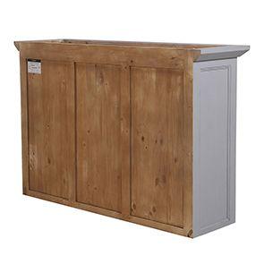 Haut de buffet vaisselier 3 portes vitrées en pin gris perle vieilli - Brocante - Visuel n°7