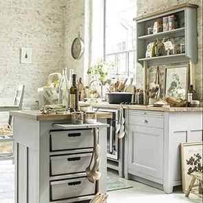 Meuble de cuisine pour lave-vaisselle en pin gris perle - Brocante