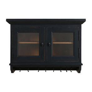 Meuble haut de cuisine portes vitrées en pin noir graphite - Brocante