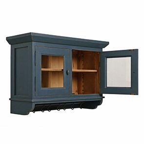 Meuble haut de cuisine portes vitrées en pin bleu grisé - Brocante - Visuel n°2