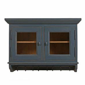 Meuble haut de cuisine portes vitrées en pin bleu grisé - Brocante