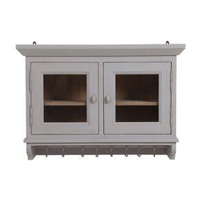 Meuble haut 2 portes vitrées en pin gris perle vieilli - Brocante