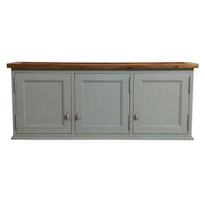 Meuble de cuisine haut 3 portes pleines en pin gris perle - Brocante