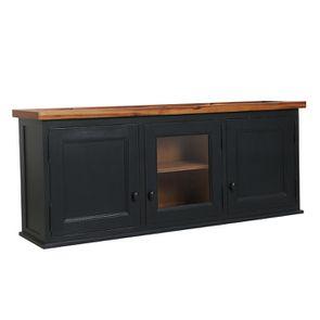 Meuble de cuisine haut vitré 3 modules en pin noir graphite - Brocante - Visuel n°5