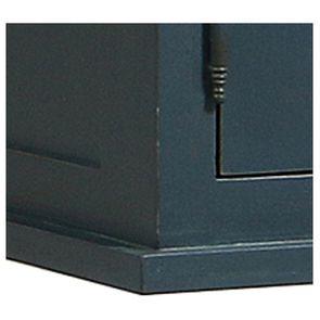 Meuble de cuisine haut vitré 3 modules en pin bleu grisé - Brocante