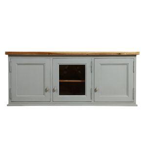 Meuble de cuisine haut vitré 3 modules en pin gris perle - Brocante