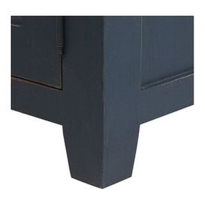 Buffet bas de cuisine 3 portes en pin bleu grisé vieilli - Brocante - Visuel n°10