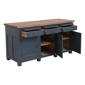 Buffet bas de cuisine 3 portes en pin bleu grisé vieilli - Brocante - Visuel n°2