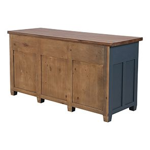 Buffet bas de cuisine 3 portes en pin bleu grisé vieilli - Brocante - Visuel n°4