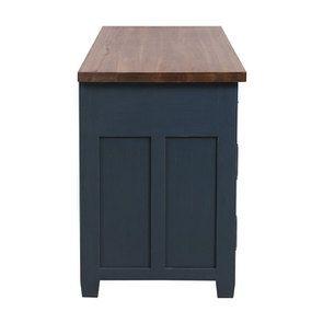 Buffet bas de cuisine 3 portes en pin bleu grisé vieilli - Brocante - Visuel n°6