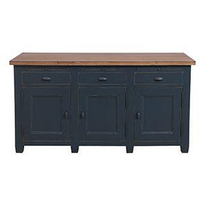 Buffet bas de cuisine 3 portes en pin bleu grisé vieilli - Brocante