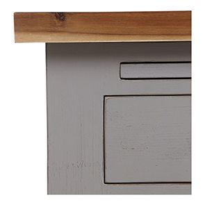 Buffet bas de cuisine 3 portes en pin gris perle vieilli - Brocante - Visuel n°11