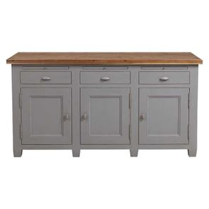 Buffet bas de cuisine 3 portes en pin gris perle vieilli - Brocante - Visuel n°1