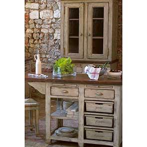 Haut de buffet vaisselier 2 portes vitrées en pin - Brocante - Visuel n°4