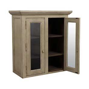 Haut de buffet vaisselier 2 portes vitrées en pin - Brocante - Visuel n°5