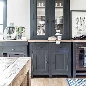 Haut de buffet vaisselier 2 portes vitrées en pin noir graphite - Brocante