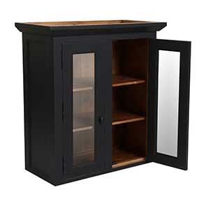 Haut de buffet vaisselier 2 portes vitrées en pin noir graphite - Brocante - Visuel n°4