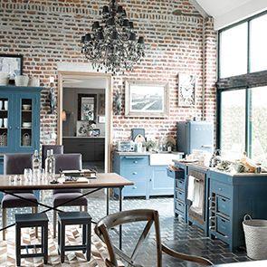 Haut de buffet vaisselier 2 portes vitrées en pin bleu grisé - Brocante - Visuel n°4