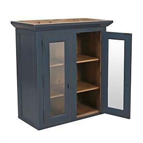 Haut de buffet vaisselier 2 portes vitrées en pin bleu grisé - Brocante - Visuel n°5