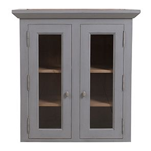 Haut de buffet vaisselier 2 portes vitrées en pin gris perle vieilli - Brocante