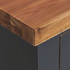 Console noire 2 tiroirs en pin massif - Brocante - Visuel n°8