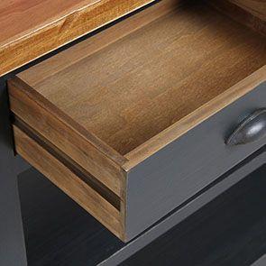 Console noire 2 tiroirs en pin massif - Brocante - Visuel n°10