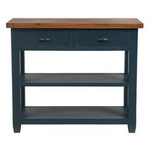 Console 2 tiroirs en pin massif bleu grisé vieilli - Brocante