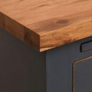 Meuble de cuisine pour évier en pin bleu grisé vieilli - Brocante - Visuel n°10