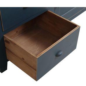 Meuble de cuisine pour évier en pin bleu grisé vieilli - Brocante - Visuel n°11