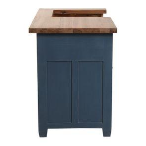Meuble de cuisine pour évier en pin bleu grisé vieilli - Brocante - Visuel n°5