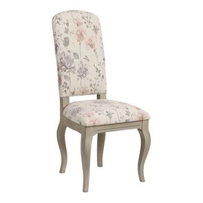 Chaise en hévéa massif et tissu fleurs opaline - Romy - Visuel n°2