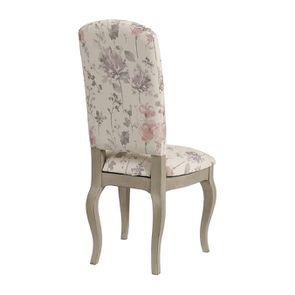 Chaise en hévéa massif et tissu fleurs opaline - Romy - Visuel n°4