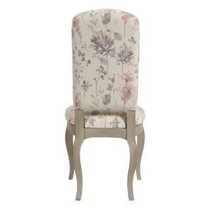 Chaise en hévéa massif et tissu fleurs opaline - Romy - Visuel n°5